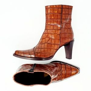 Sesto Meucci Croc Embossed Leather Ankle Boots